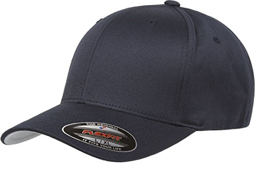 Flexfit Yupoong Wooly 6-Panel Twill Structured Cap, Navy, Large/X-Large ()