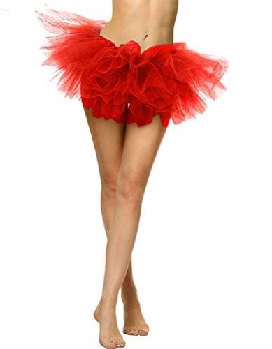 YouPue Femme Tutu Jupe 5 couches Tulle Ballet Jupe Princesse Jupon Jupe Courte Costume De Danse Mini-jupe Sexy Rouge