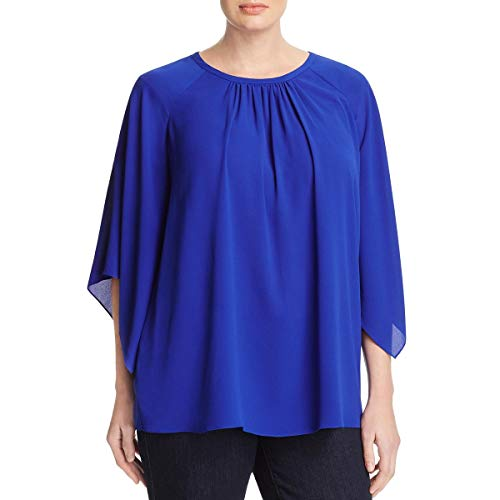 Vince Dress Pleated (Vince Camuto Womens Plus Crepe Pleated Blouse Blue 1X)