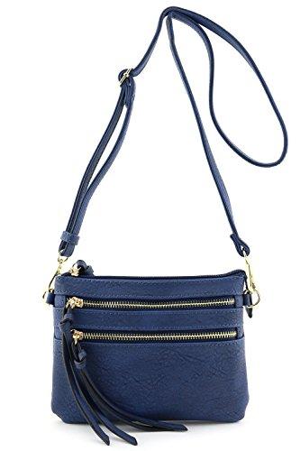 Multi Pocket Small Crossbody Bag Navy (Blue Leather Handbags)