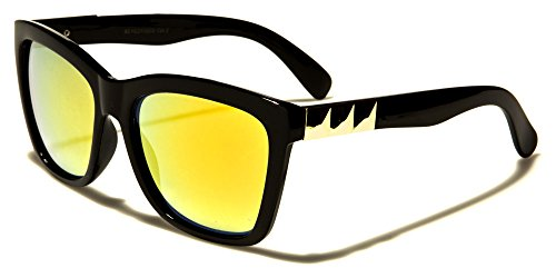 Mirozi Unisex Retro Wayfarer 54MM Colored Frame Sunglasses (Black + Yellow - Yellow Ambermatic