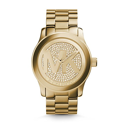 Michael Kors Women's Goldtone Oversized Logo Runway Watch - Round Logo Watch