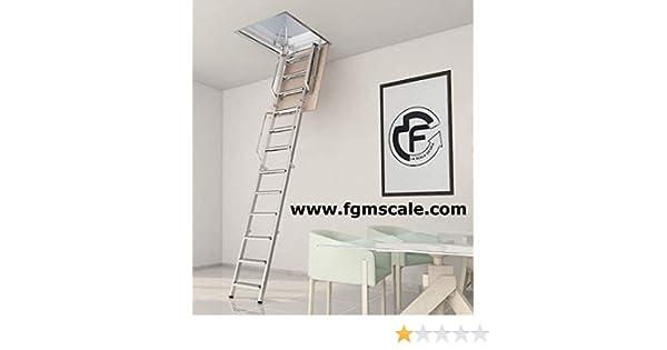Escalera Escamoteable Plegable 4 Piezas Buhardilla, retráctil rígida H 280 - 310 cm, lado 70: Amazon.es: Bricolaje y herramientas