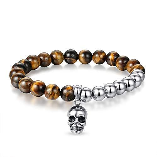 JSstudio Tiger Eye Bracelet, Stress Relief Natural Crystals and Healing Stones Energy Yoga Prayer Bead Bracelet for Men Women Unisex Couples, Viking Hippie Devil Skull Gemtone Mens Anxiety Bracelets -
