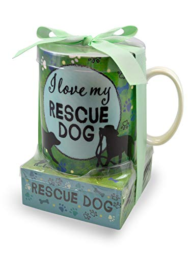 - I Love My Rescue Dog Pawprint Green 12 ounce Glossy Ceramic Mug and Note Stack
