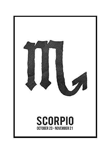 Scorpio - Astrology Zodiac Symbol - Ink Drawing (24x36 Framed Gallery Wrapped Stretched Canvas) by Lantern Press