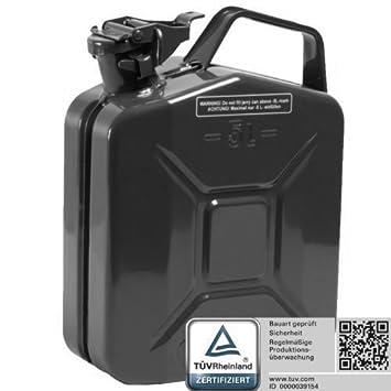 T/ÜV Rheinland Zertifiziert f/ür Benzin und Diesel Oxid7/® Benzinkanister Kraftstoffkanister Metall 20 Liter Schwarz mit UN-Zulassung Bauart gepr/üft