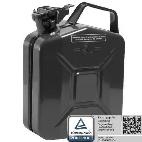Oxid7 Benzina Tanica Bidone Carburante metallo 5 litri nero con un di approvazione –  Certificata TÜ V RHEINLAND –  certificate –  per benzina e diesel