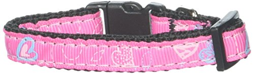Dog Supplies Crazy Hearts Nylon Collars Bright Pink Xs