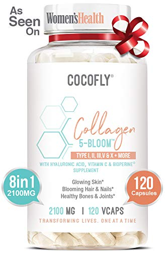 41cNh9CcIYL - COCOFLY Hydrolyzed Multi Collagen 5 Bloom Peptides Capsules - 2100 mg Grass Fed Supplements (Type I, II, III, V, X) + Hyaluronic Acid, Vitamin C, Bioperine, Super Pills for Women Anti-Aging, Skin Hair