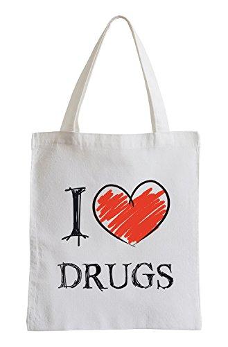 Amo la droga Fun sacchetto di iuta
