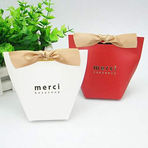 100pcs/50pcs/20pcs Merci Beaucoup White Color Wedding Gift Boxes Paper Cake Box Baby Shower Favor Boxes Candy Box with Ribbon (Mixed Colors, 100PCS)