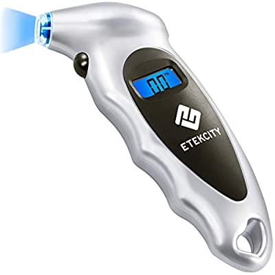 Etekcity  Digital Tire Pressure Gauge 150 PSI 4 Settings for Car Truck Bicycle Bike with Backlit LCD, Non-Slip Grip & Lighted Nozzle, 2-Year Warranty, Batteries Included, Silver(1 Pack): Automotive