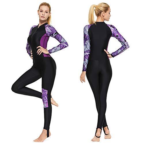 Full Body Scuba Rash Guard Lycra Dive Skin UV Swimwear Sport Skins for Men Women, Long Sleeve One Piece Front Zipper Diving Wetsuit for Surfing Swimming Snorkeling Canoeing (Women's Purple, L)