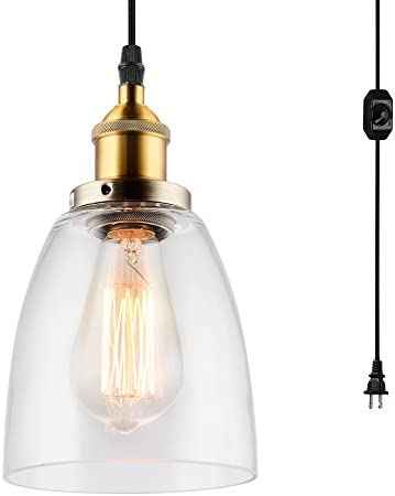 HMVPL Glass Pendant Light Fixture with Plug-in Cord and On Off Dimmer Switch, Industrial Mini Swag Hanging Ceiling Lamps Chandelier for Dining Room Bedroom Barn Kitchen Island Table Sink Hallway
