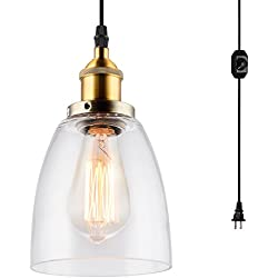 HMVPL Mini Glass Hanging Lights with Plug in Cord and On/Off Dimmer Switch, Updated Industrial Edison Antique Swag Pendant Lamps for Kitchen Island or Dining Room - Oval Lampshade