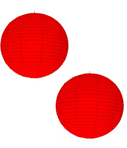 Jamboree!!! Nxt Gen Rice Paper Ball Garden Hanging Lantern/Lamp Shade for Decoration  Red, 12 Inch    Pack of 2 Pieces