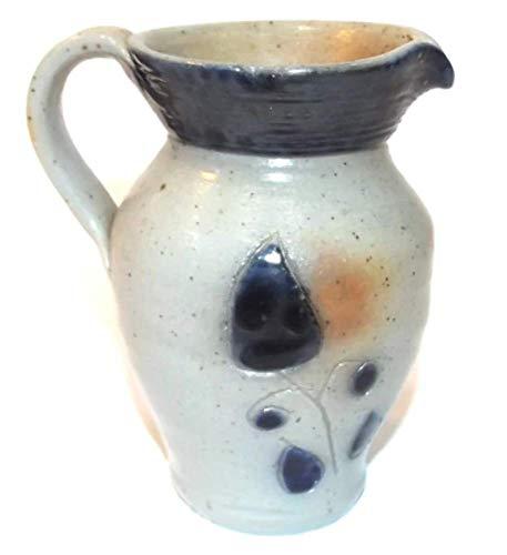 Vintage Handmade Stoneware Creamer Jug w/Cobalt Blue Leaf Decoration