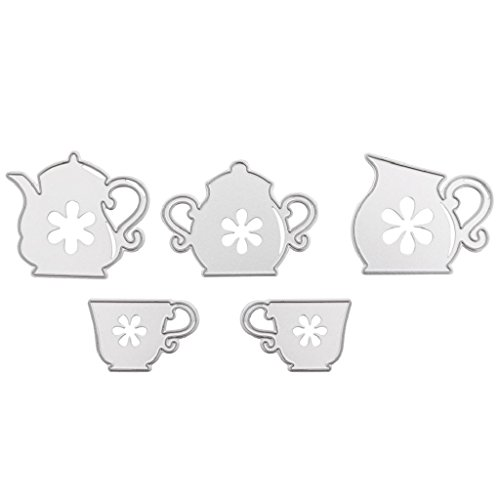 NNDA CO 5Pcs New DIY Teapot Cutting Dies Stencil Scrapbook Embossing Card Paper Craft
