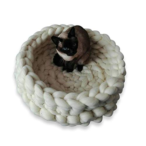 Handmade 12inch Chunky Wool Cat Bed Small Dog Bed Chunky Knit Cat Bed Cat Cave Wool Cat Nest Chunky Pet House Crochet Pet Bed,Cream ()