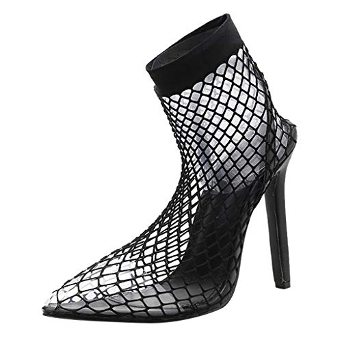 Women Sexy High Heel Sandals Durable Fishnet Upper Stocking Shoes Comfort Hollow Pumps 4.72