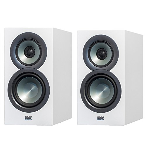 ELAC Uni-fi UB5 Slim Bookshelf Speaker (Finshed Satin White Cabinet, Pair)
