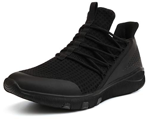 JOOMRA Men Sneakers All Black Slipon Workout Gym Jogging Casual Knit Trekking Athletic Tennis Shoes Comfortable Footwear Male Zapatillas Size 10