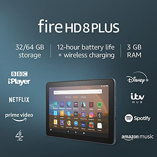 Fire HD 8 Plus tablet, 8″ HD display, 32 GB, Slate without Ads, Our best 8″ tablet for portable entertainment