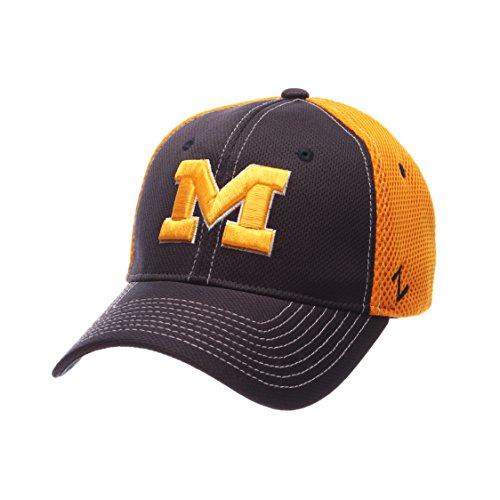 Football Mesh Cap (Zephyr NCAA Michigan Wolverines Men's Rally Z-Fit Cap, Medium/Large, Navy/Gold)