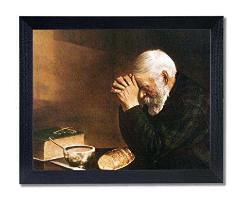 Art Prints Inc Daily Bread Man Praying At Dinner Table Grace Religious Wall Picture Black Framed Art Print