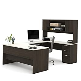 Bestar U-Shaped Desk with Pedestal and Hutch &#821...