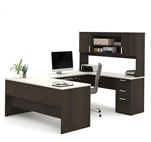 - U-Shaped Desk with Pedestal and Hutch