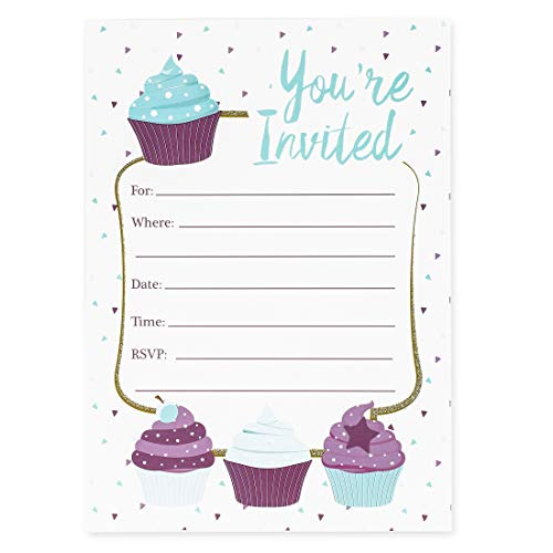 Juvale Cupcake Girl Party Invitations with Envelopes (Set of ()
