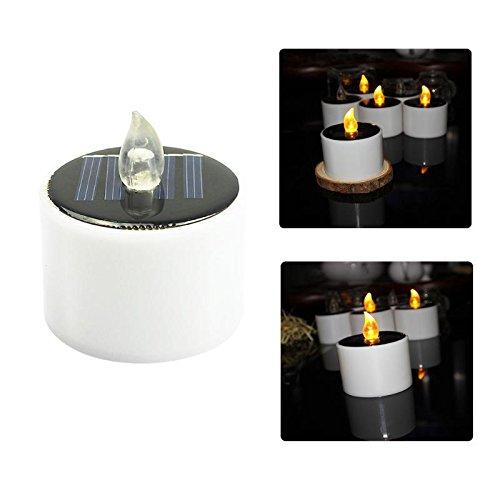 AMZVASO - 6Pcs Solar Power LED Candle Lights Tea Light Candles Home Decoartion Lighting Christmas Halloween Wedding Decoration Lamp (Halloween Decoartions)