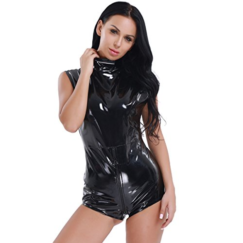 CHICTRY Women's Black Catsuit Shiny Leather Wet Look Zipper Front Crotchless Bodysuit Black (Front Leather Teddy)