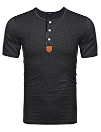 Coofandy Mens Casual Henley Short Sleeve Cool T-Shirts
