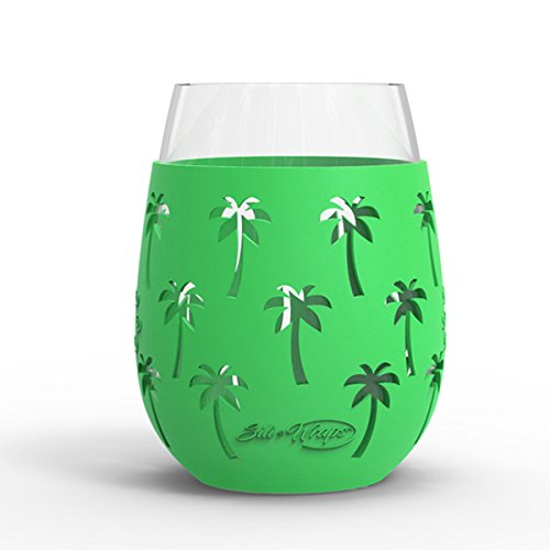- Wine Glass - 18oz Indoor and Outdoor Glass with Protective Silicone Sleeve - Set of 2 - Palm Tree