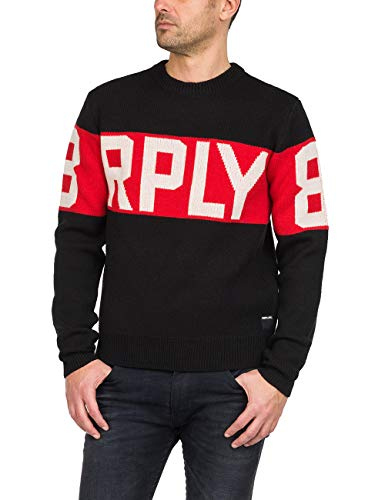 With Jacquard white Black Red Replay Men's Red Sweater Stripe aYYEZqg