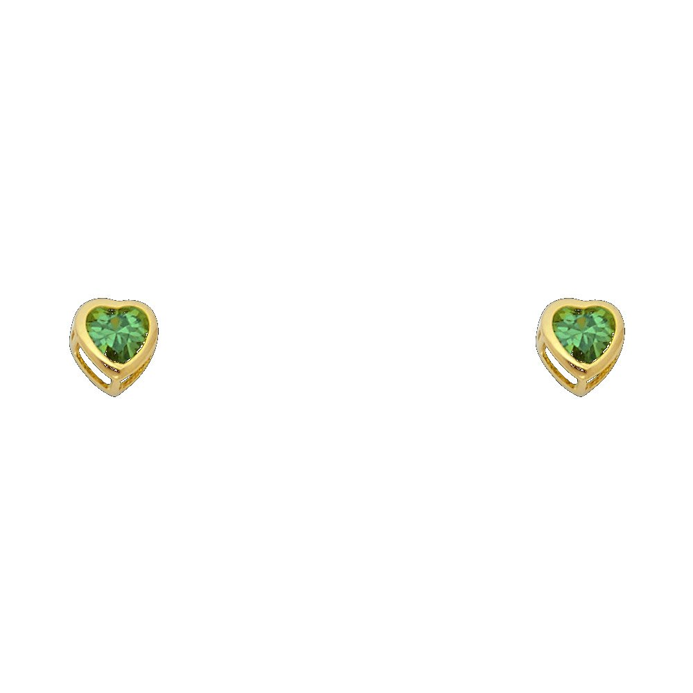 12 Different Color Available 14k Yellow Gold 5mm Heart Bezel Set Stud Earrings with Screw Back