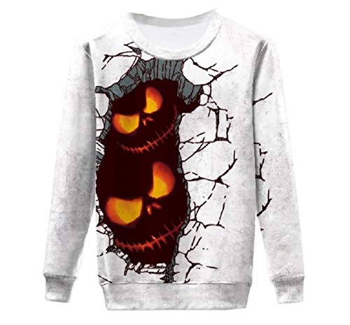 YUNY Womens Halloween Unisex Casual Weekend Design Graphic Sweatshirts 12 M -