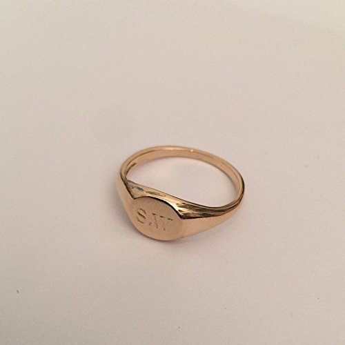 B Pinky ring, Engraved ring, Personalized Ring, Signet Ring, Pinky ring, mens signet ring, womens signet (Gold Pinky Ring)