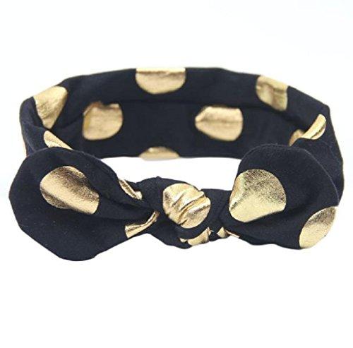Tenworld Baby Elastic Cloth Bowknot Headdress Girl's Soft Turban Headbands (Black) (Armoire Or Wardrobe Difference)
