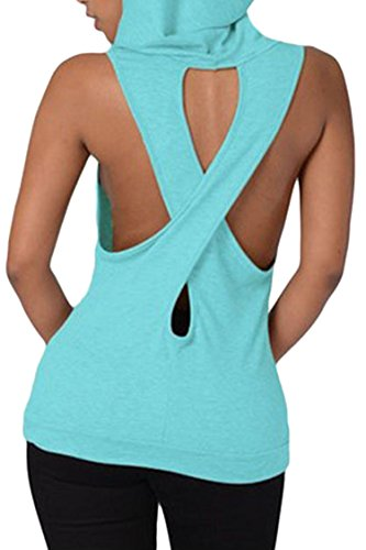 Women's Super Soft Cross Back Work Out Yoga Cover Up Hoodie Tank Top Blue M - Hooded Tank Top