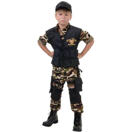 Black Team 6 Kids Costumes (Deluxe SEAL Team VI Child Costume - Large)