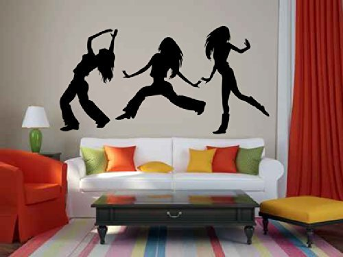 Hip Hop Dancer Girls Dancing Silhouette Vinyl Wall Decal Sticker Graphic