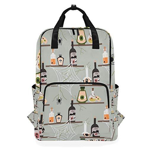 Halloween Poison Bottle Student Backpack Shoulder Bag Elementary School Bookbag For Boys Girls