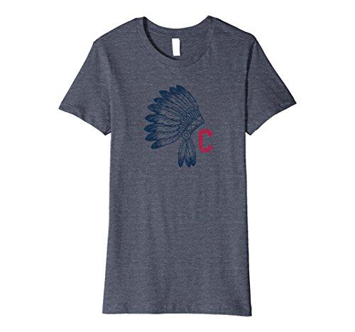 Women's Native Indian Dress (Womens Block C with Native American Headdress Cleveland T-Shirt XL Heather Blue)