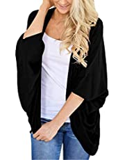 ChainJoy Women's Loose Casual 3/4 Sleeve Open Front Breathable Cardigans Kimono