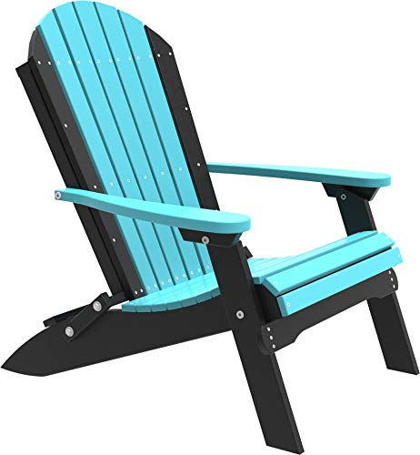 LuxCraft PolyTuf Folding Adirondack Chair Aruba Blue & Black ()