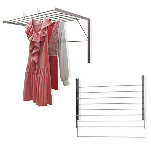 Set of 2 Clothes Drying Rack Stainless Steel Wall Mounted Fo